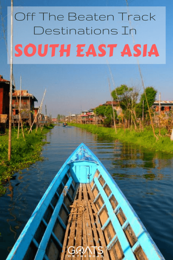 Cruising asian backwaters with text overlay off the beaten travel destinations in South East Asia
