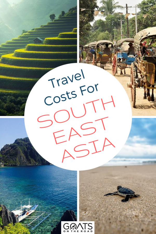 Beaches and rice paddies with text overlay Travel Costs For South East Asia