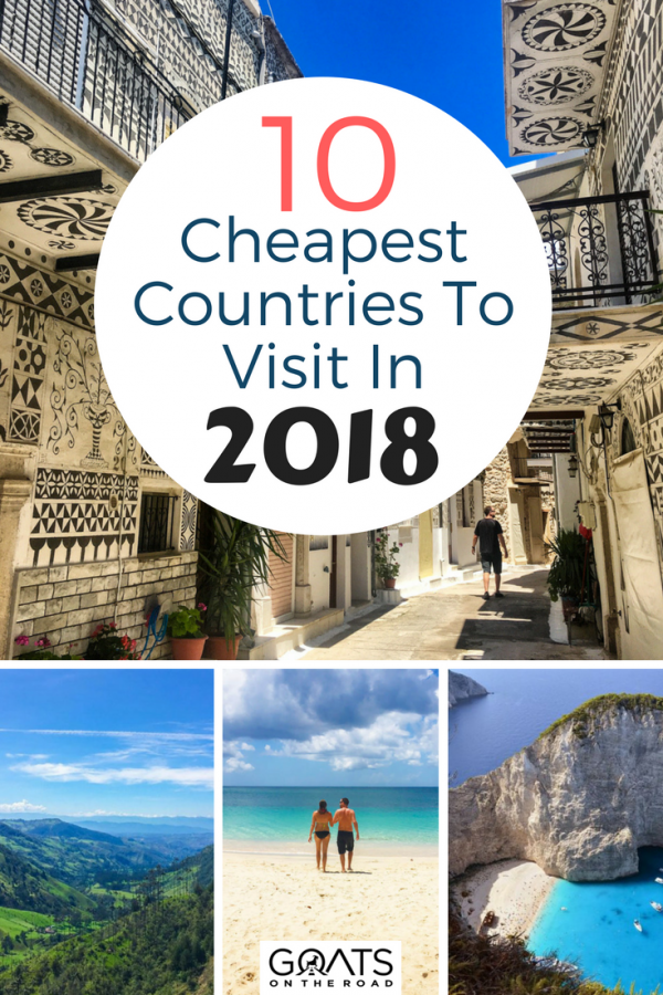 Backpacker destinations with text overlay 10 Cheapest Countries To Visit In 2018