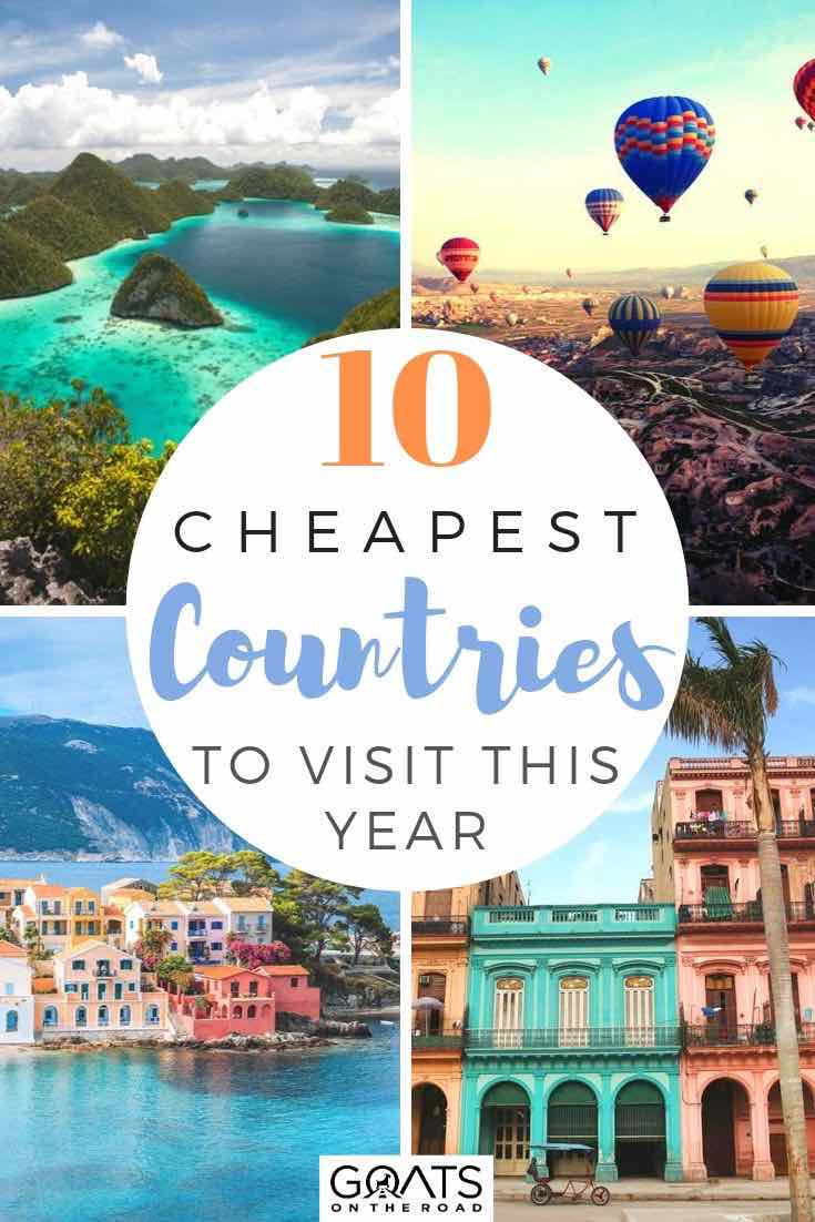 budget destinations with text overlay 10 cheapest countries to visit this year
