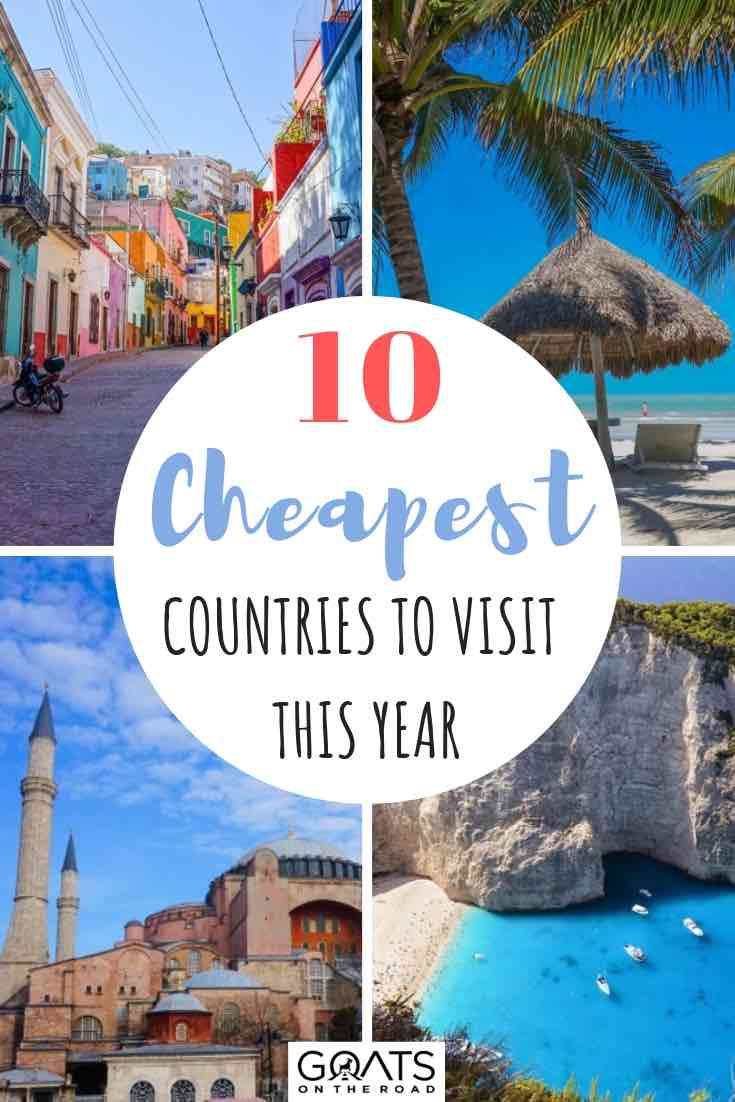 cheapest destinations to travel to this year with text overlay