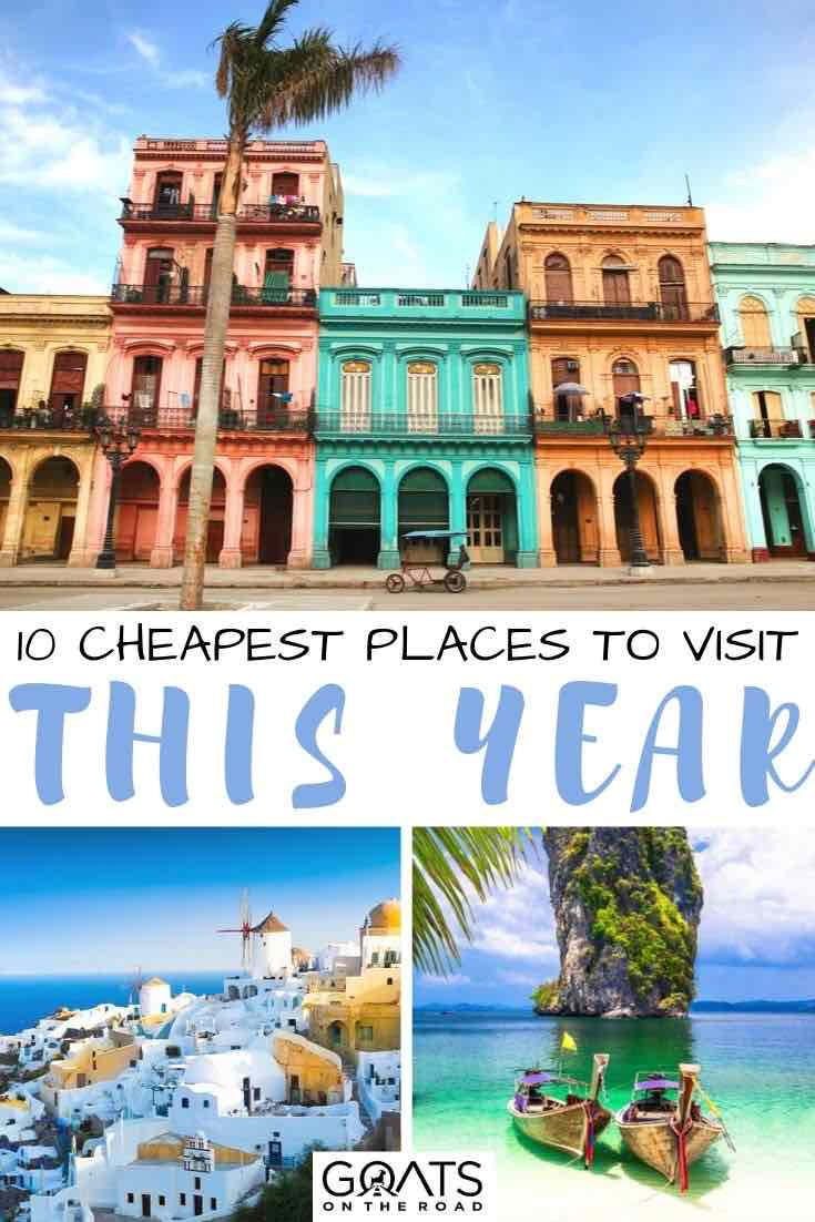 Cuba with text overlay 10 cheapest places to visit this year