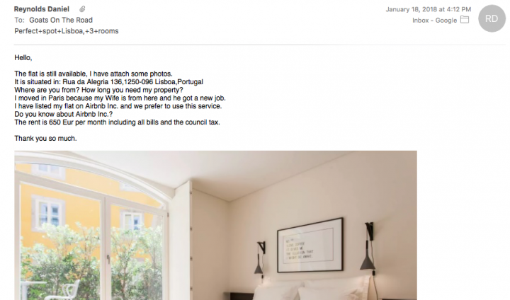 Airbnb Scam Email Communication With Host