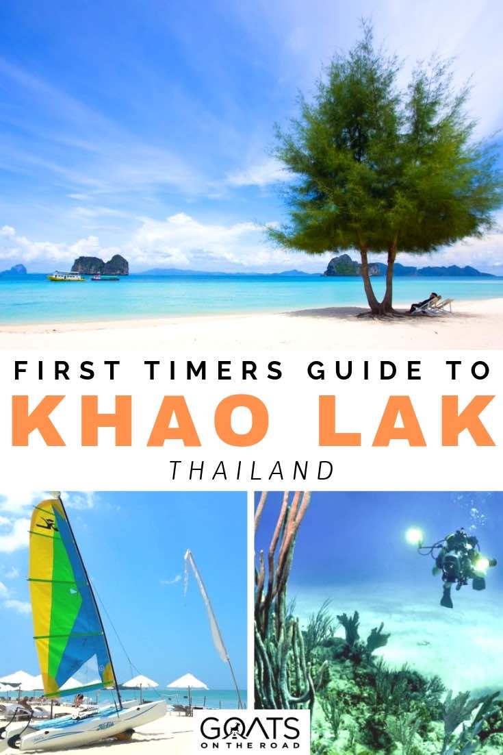 beautiful beach with text overlay first timers guide to khao lak thailand