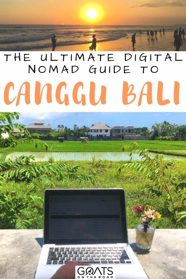 working on a laptop next to the rice paddies with text overlay the ultimate digital nomad guide to canggu bali