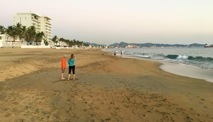 manzanillo colima walking along manzanillo by at sunset