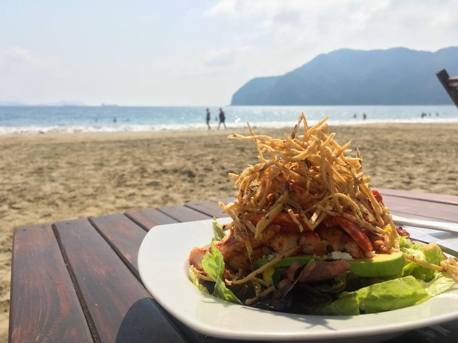 manzanillo mexico eating lunch at oasis beach club