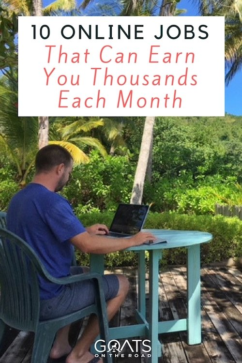 Outside office with text overlay 10 Online Jobs That Can Earn You Thousands Each Month