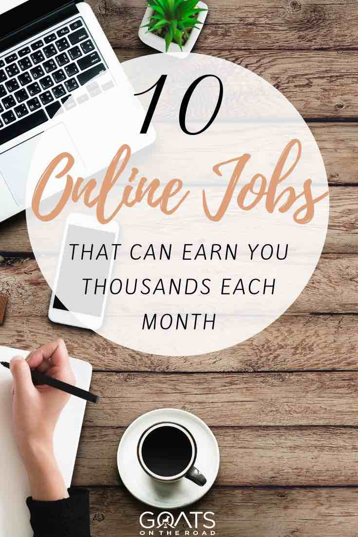 keyboard with text overlay the 10 best online jobs that can earn you thousands