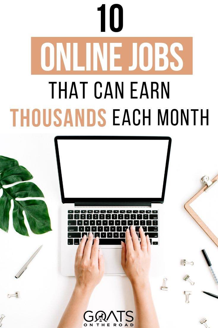 computer with text overlay the 10 best jobs that can earn you thousands each month