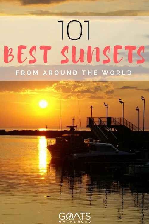 Sunset in Scotland with text overlay 101 Best Sunsets From Around The World