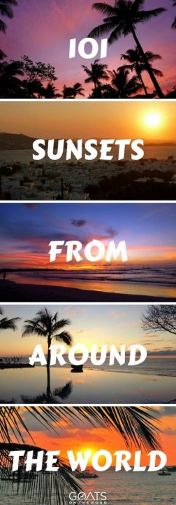 Five sunsets with text overlay 101 Sunsets From Around The World