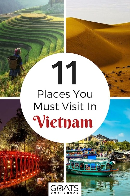 Vietnam landscapes with text overlay 11 Places You Must Visit In Vietnam