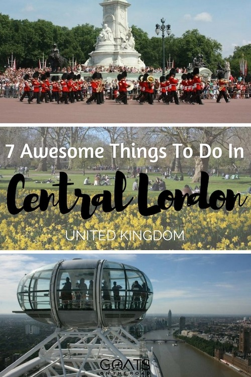 Three photographs of Activities in London with text overlay 7 Awesome Things To Do In London