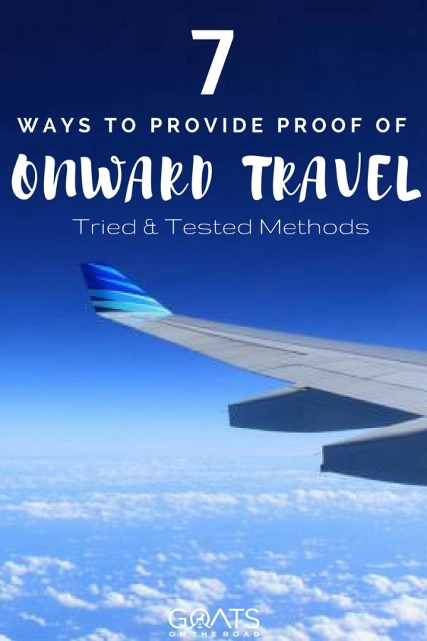 Image of plane wing with text overlay 7 Ways To Provide Proof Of Onward Travel