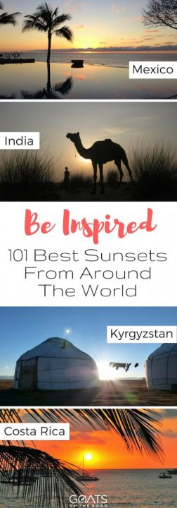 Four sunset silhouettes with text overlay Be Inspired 101 Best Sunsets From Around The World