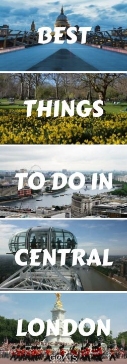 Five photographs of popular London landmarks with text overlay Best Things To Do In Central London