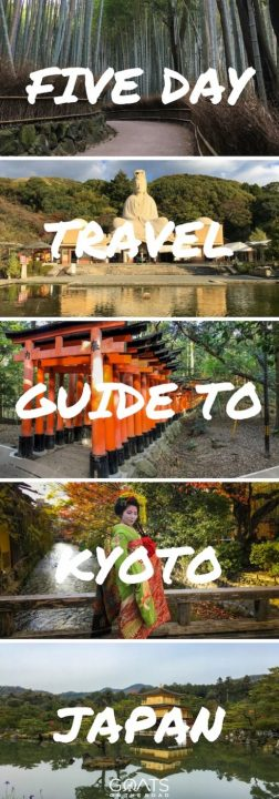 Five photographs of popular tourist attractions in Kyoto with text overlay Five Day Travel Guide To Kyoto Japan