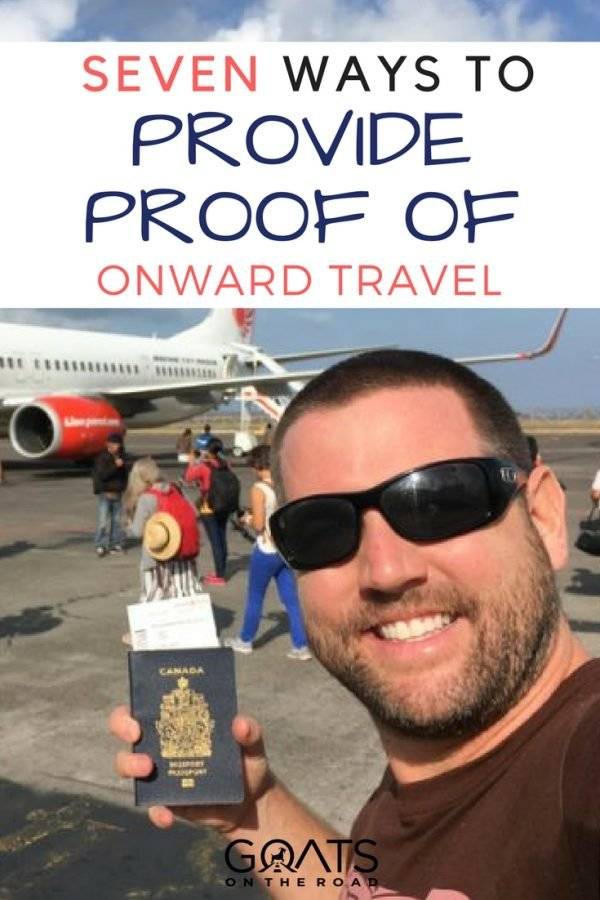 Image of plane passenger holding passport with text overlay Seven Ways To Provide Proof Of Onward Travel