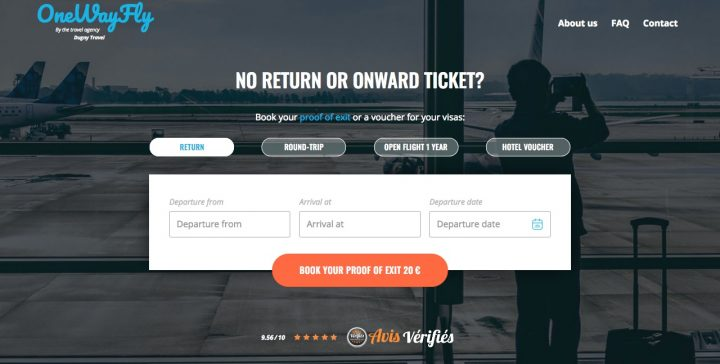 Proof of onward ticket One Way Fly Website