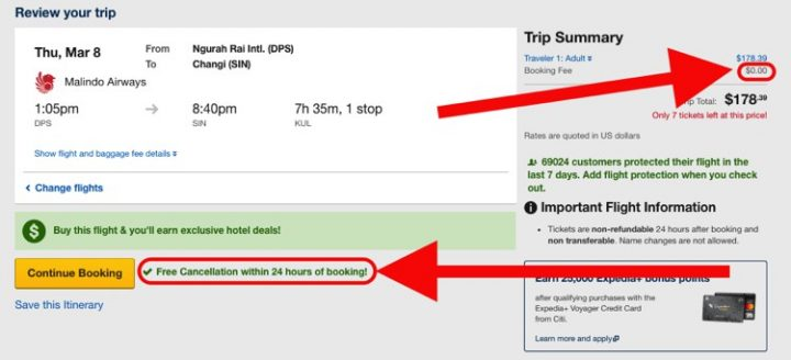 Provide Proof of Onward Flight Free 24 Hour Cancel Expedia.com