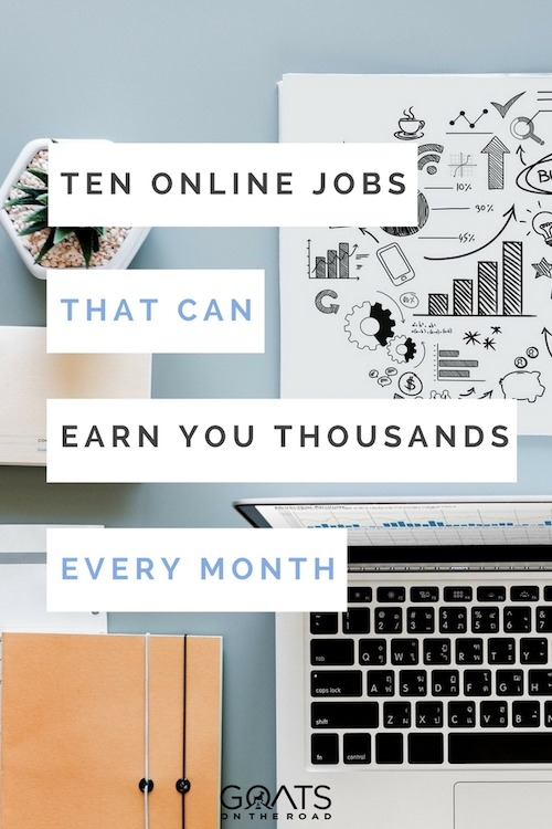 Desk with laptop and plant with text overlay Ten Online Jobs That Can Earn You Thousands