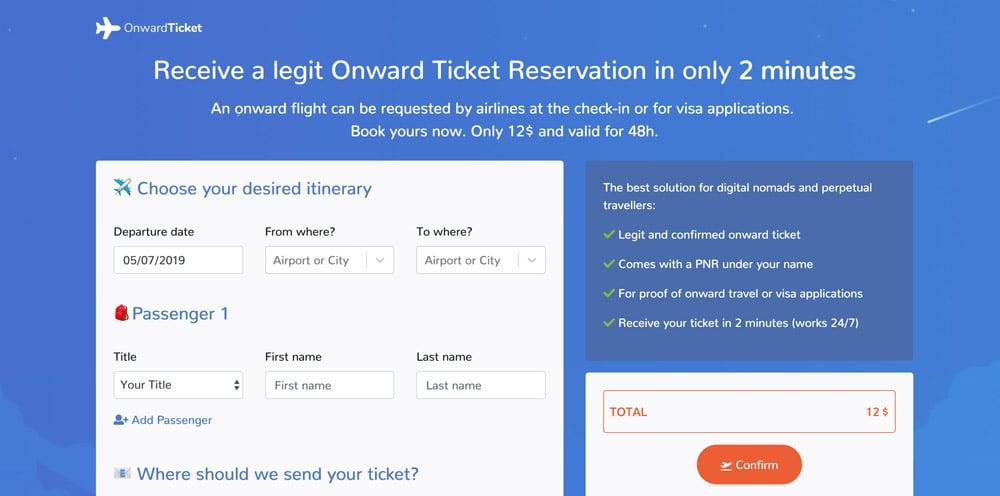 Onward Ticket Website Screenshot