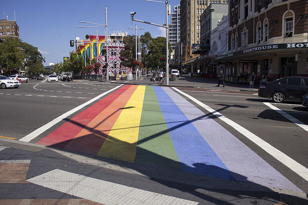 where to stay in sydney darlinghurst neighbourhood with gay pride stripes