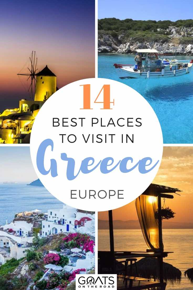top destinations with text overlay 13 best places to visit in greece europe