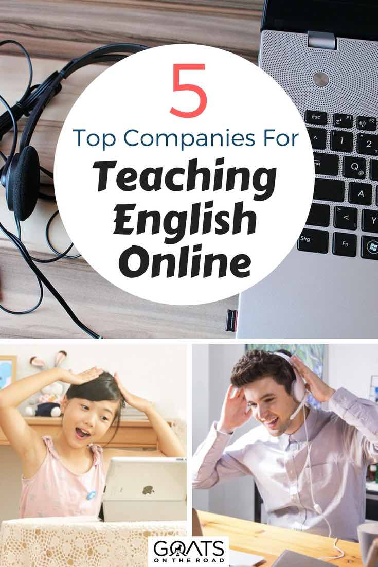 Laptop & Headset with text overlay 5 Top Companies For Teaching English Online