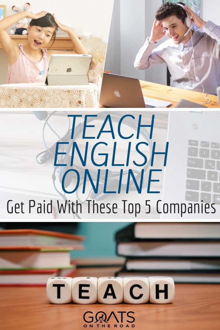 Teaching Online with text overlay Teach English Online Get Paid With These Top 5 Companies