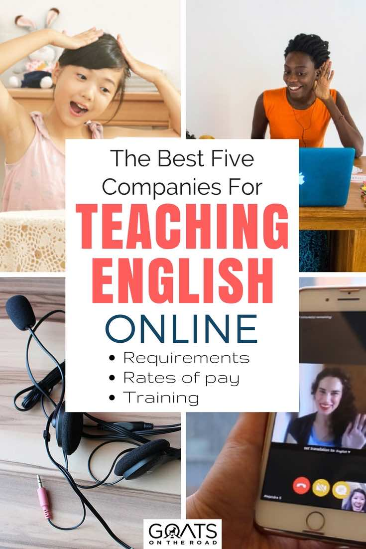 Online teachers with text overlay The Best Five Companies For Teaching English Online
