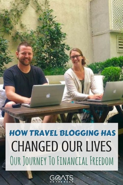 The Goats on laptops with text over lay How Travel Blogging Changed Our Lives