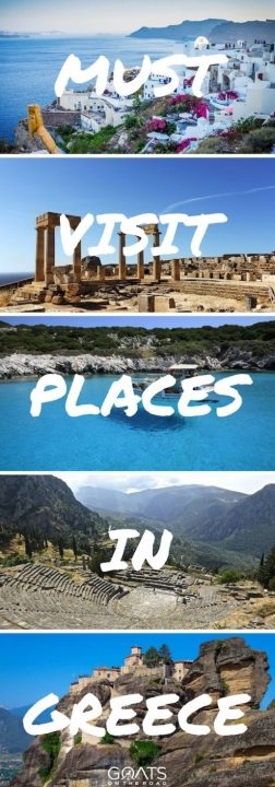 Photographs of Santorini, Olympia, Skyros, Delphi and Meteora with text overlay Must Visit Places In Greece