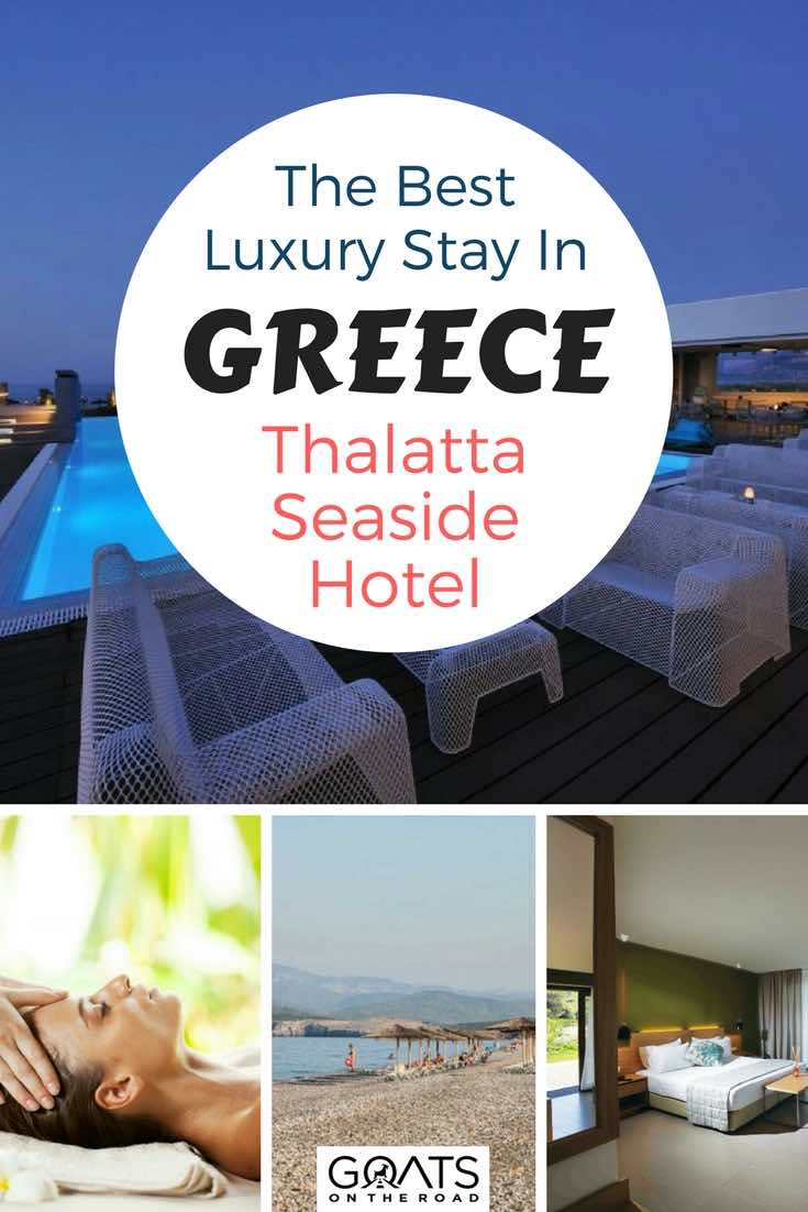 Hotel swimming pool with text overlay The Best Luxury Stay In Greece