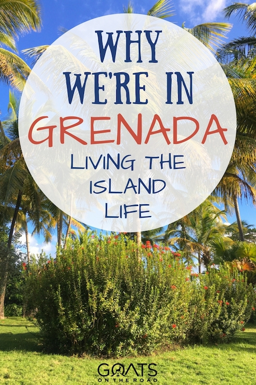 Photograph of Grenada Caribbean with text overlay Why We're In Grenada Living The Island Life