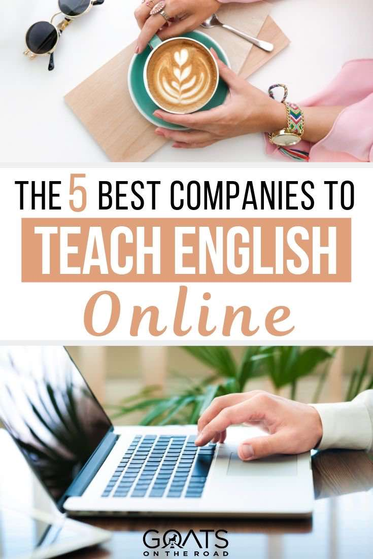 laptop and coffee with text overlay the 5 best companies to teach English online
