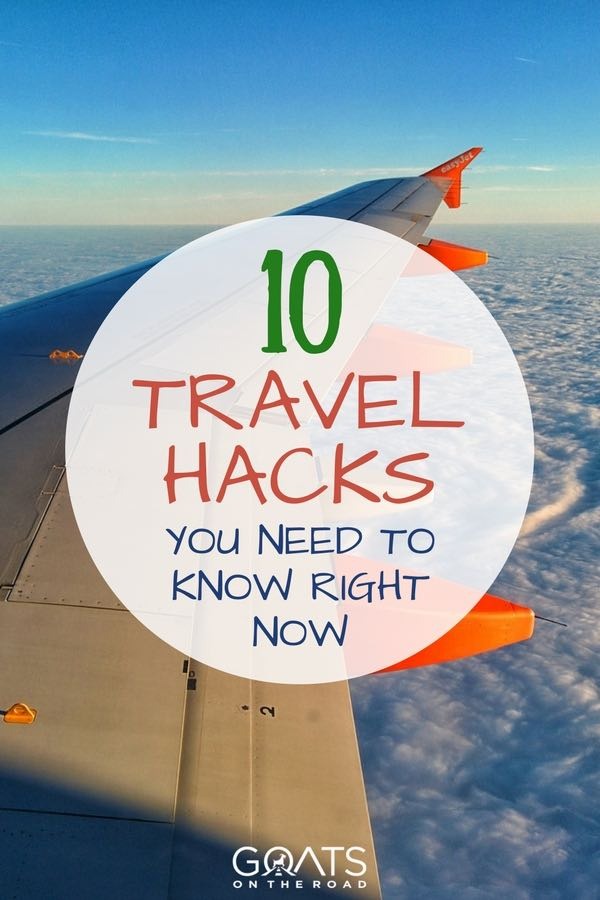 View over wing from plan window with text overlay 10 Travel Hacks You Need To Know Right Now