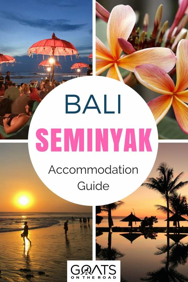 Bali beaches with text overlay Seminyak Accommodation Guide