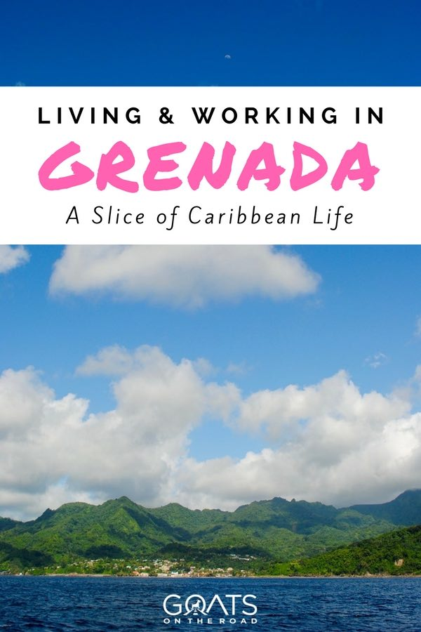 Grenada Seaview with text overlay living and working in Grenada A Slice of Caribbean Life