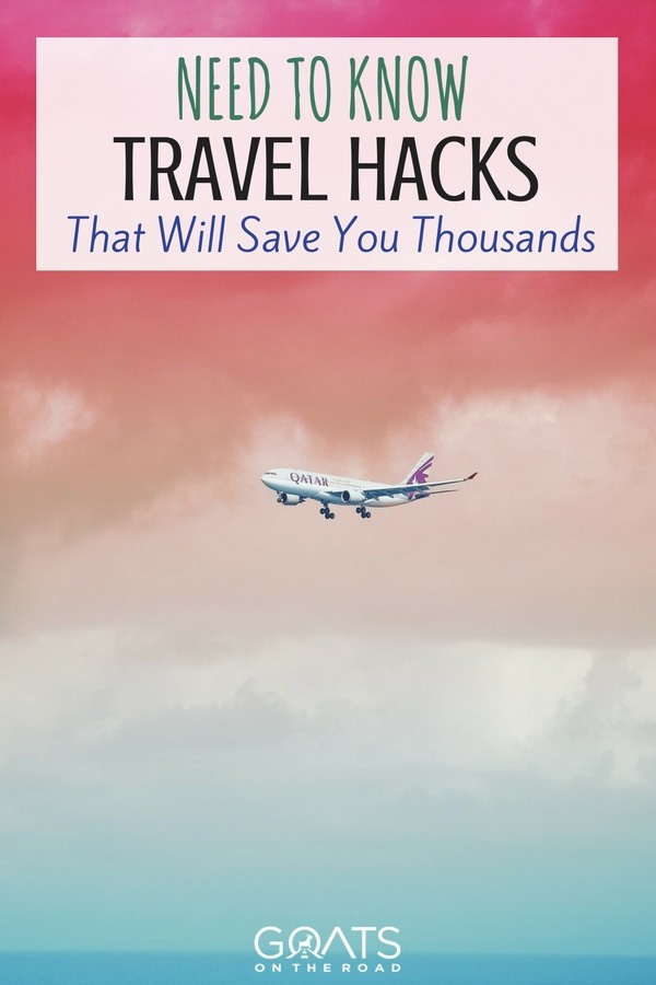 Pink and blue sky with aeroplane with text overlay Need to Know Travel Hacks That Will Save You Thousands