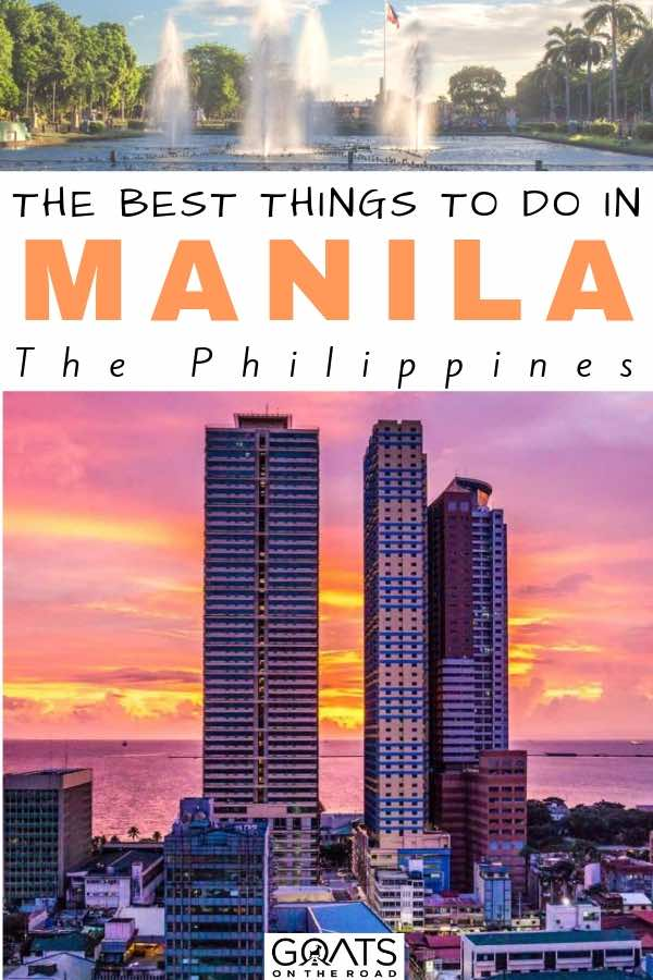 sunset behind the tall buildings with text overay the best things to do in manila the philippines