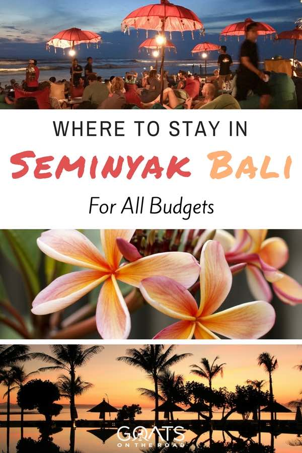 Bali landscapes with text overlay where to stay in Seminyak