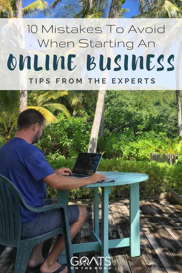 Working on laptop outside with text overlay 10 Mistakes To Avoid When Starting An Online Business