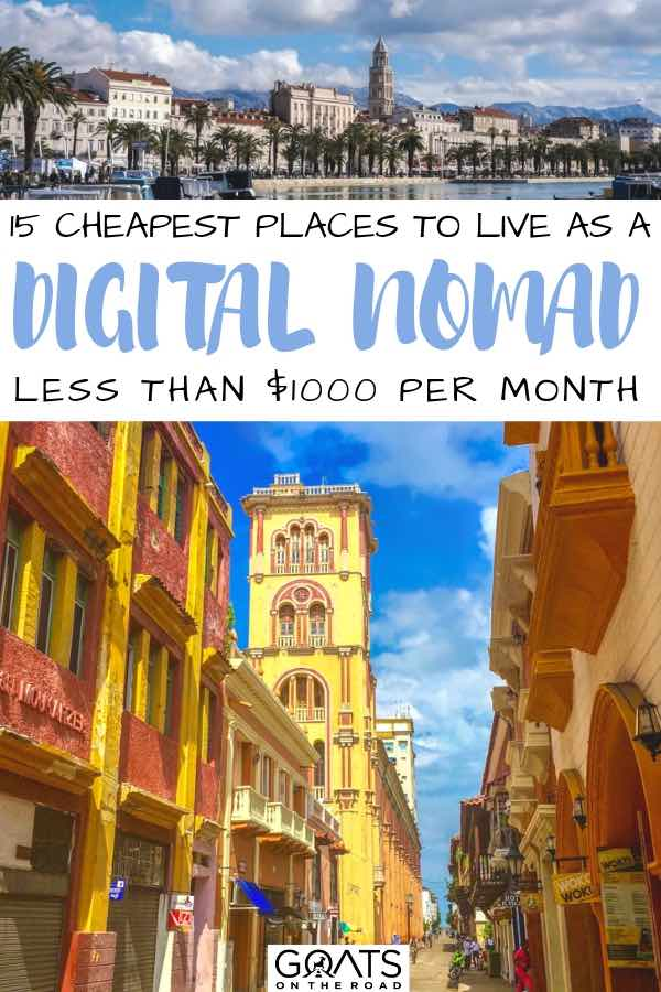 cheap countries with text overlay 15 cheapest places to live as a digital nomad
