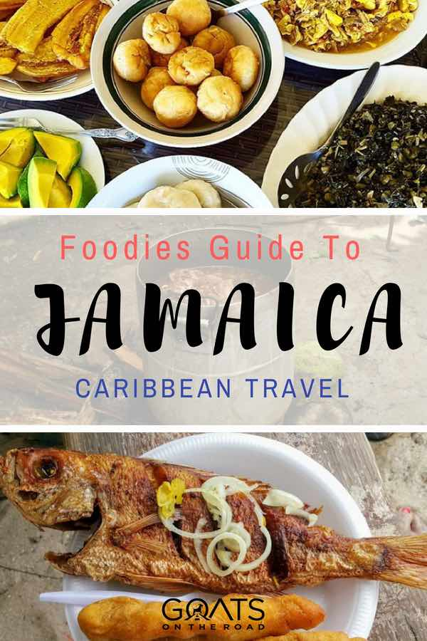 Mannish water and escoveitch fish with text overlay Foodies Guide To Jamaica Caribbean Travel