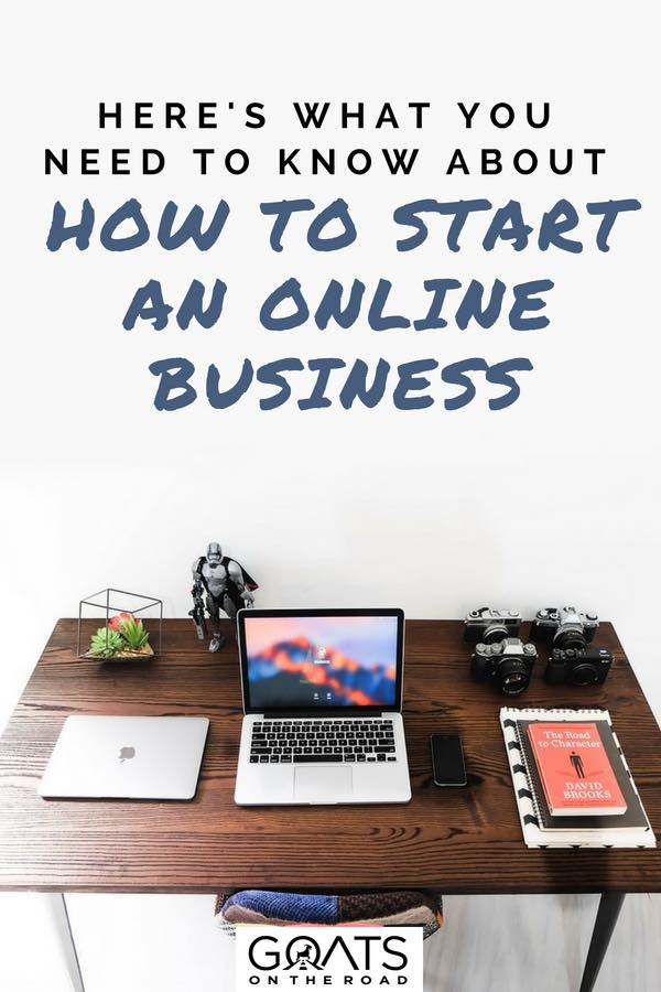 Laptop, camera and notepad on desk with text overlay How To Start An Online Business