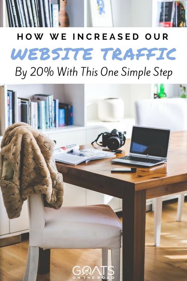 Work form home desk with text overlay How We Increased Our Website Traffic By 20% With This One Simple Step