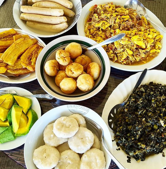 Jamaican cuisine breakfast spread of akee and saltfish