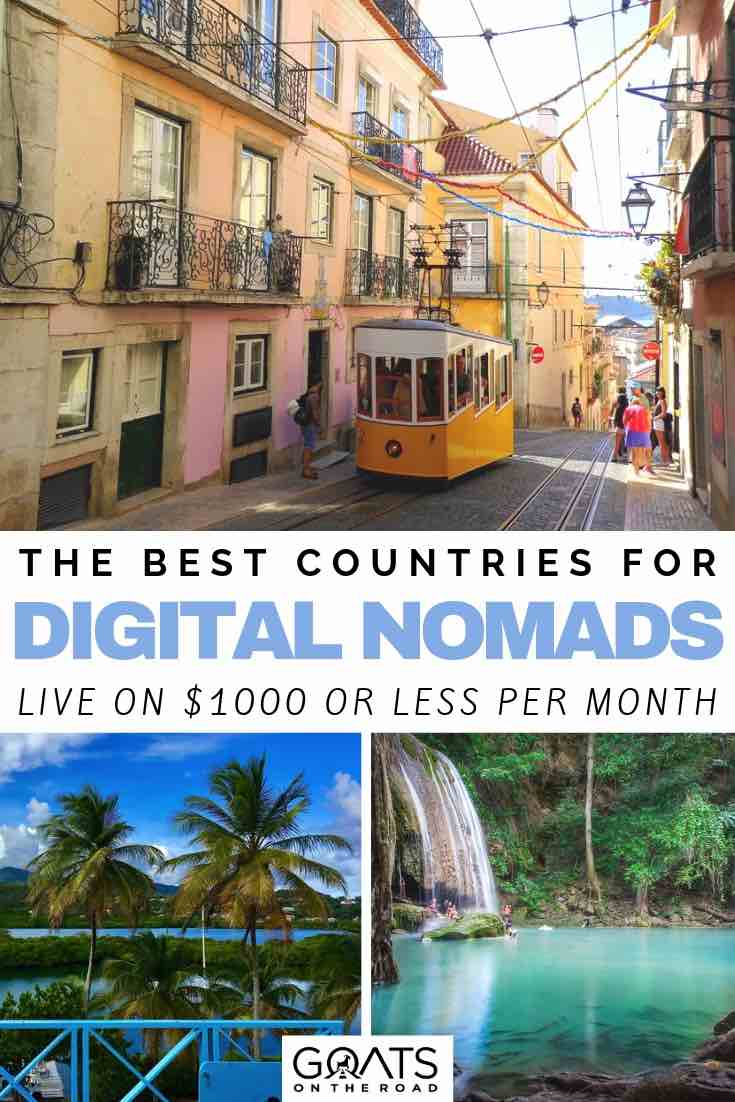 city and waterfalls with text overlay the best countries for digital nomads